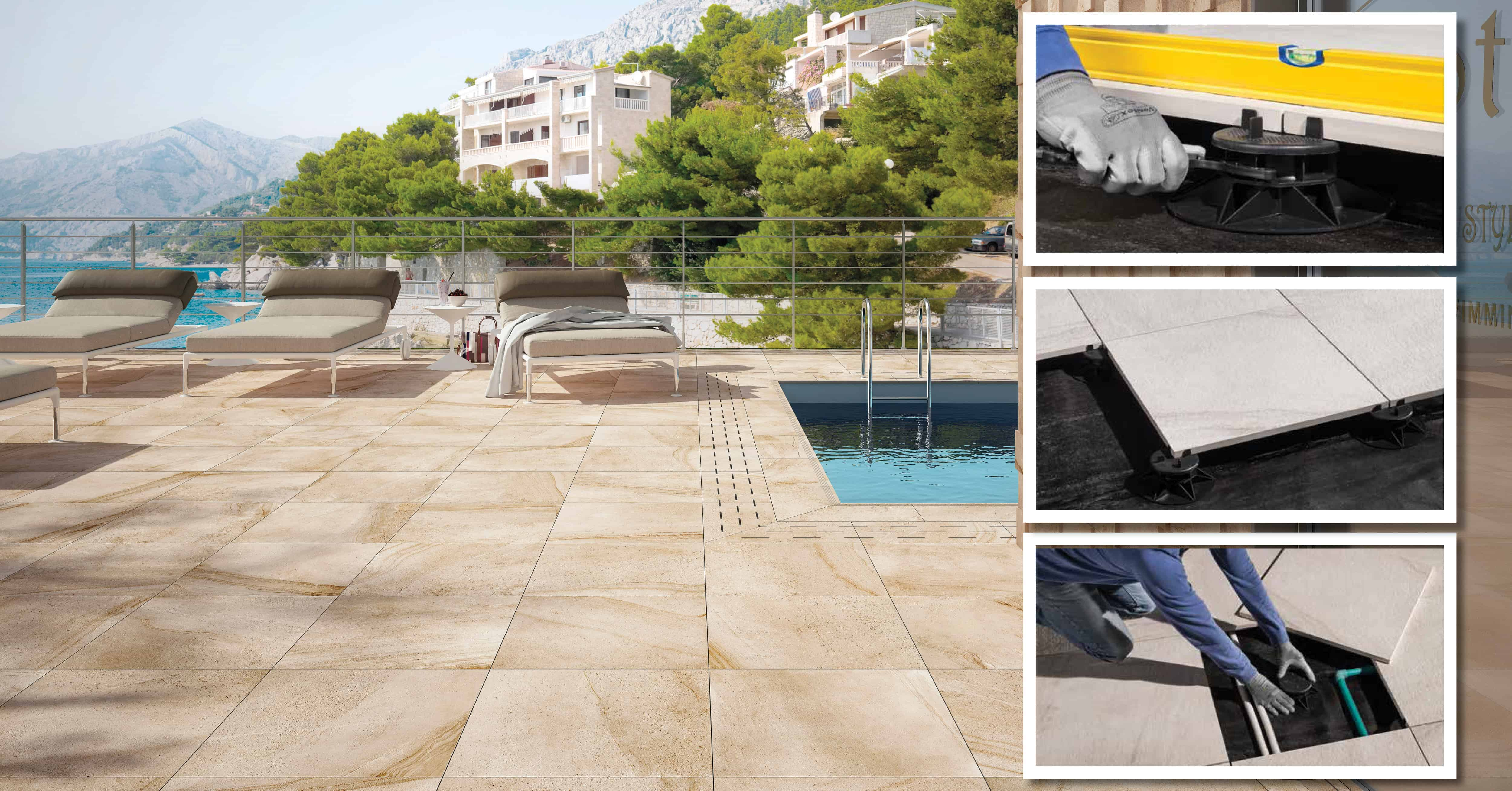 installation method for outdoor porcelain 20mm tiles using plastic pedestals rondine ceramica how to install