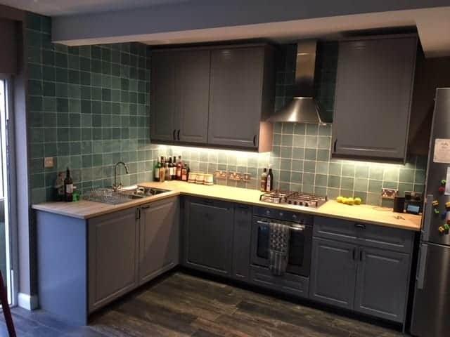 Tom Kitchen Souk Turquesa customer project emc tiles splashback square tile rustic