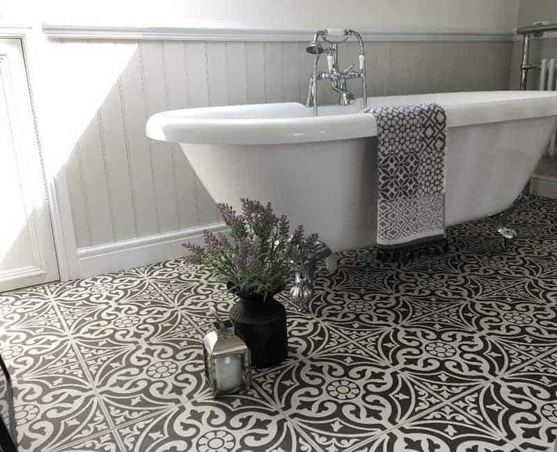 Black Matt Pattern Wall Floor Tile, Victorian Floor Tiles Bathroom