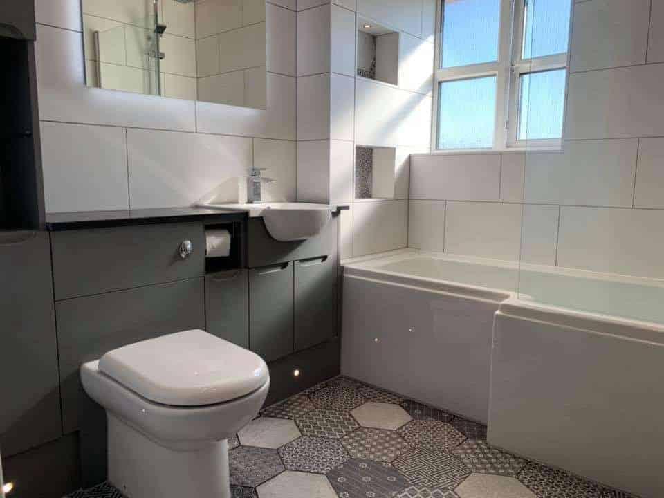 bathroom renovation emc tiles white and hexagon floor and wall tiles hallam interiors