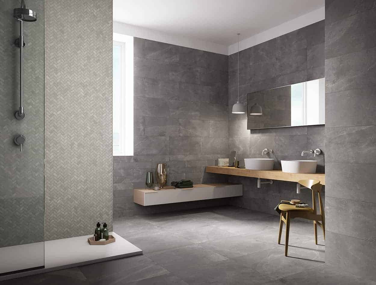 Gentle stone wall and floor tiles stone and concrete effect tiles for bathroom and kitchen