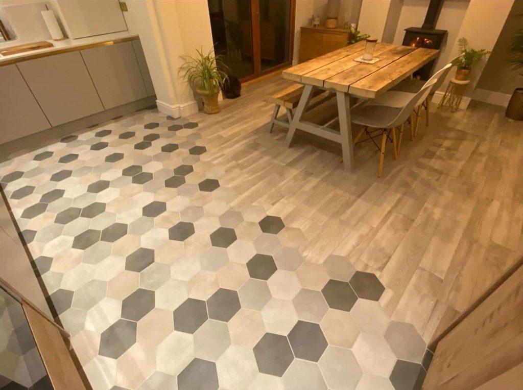 kitchen diner transformation emc tiles hexagon floor wall tile