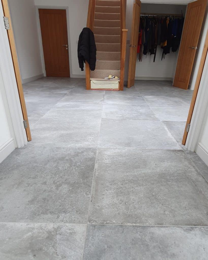 C E Ceramics Amboise 80x80cm grey entrance hallway emc tiles