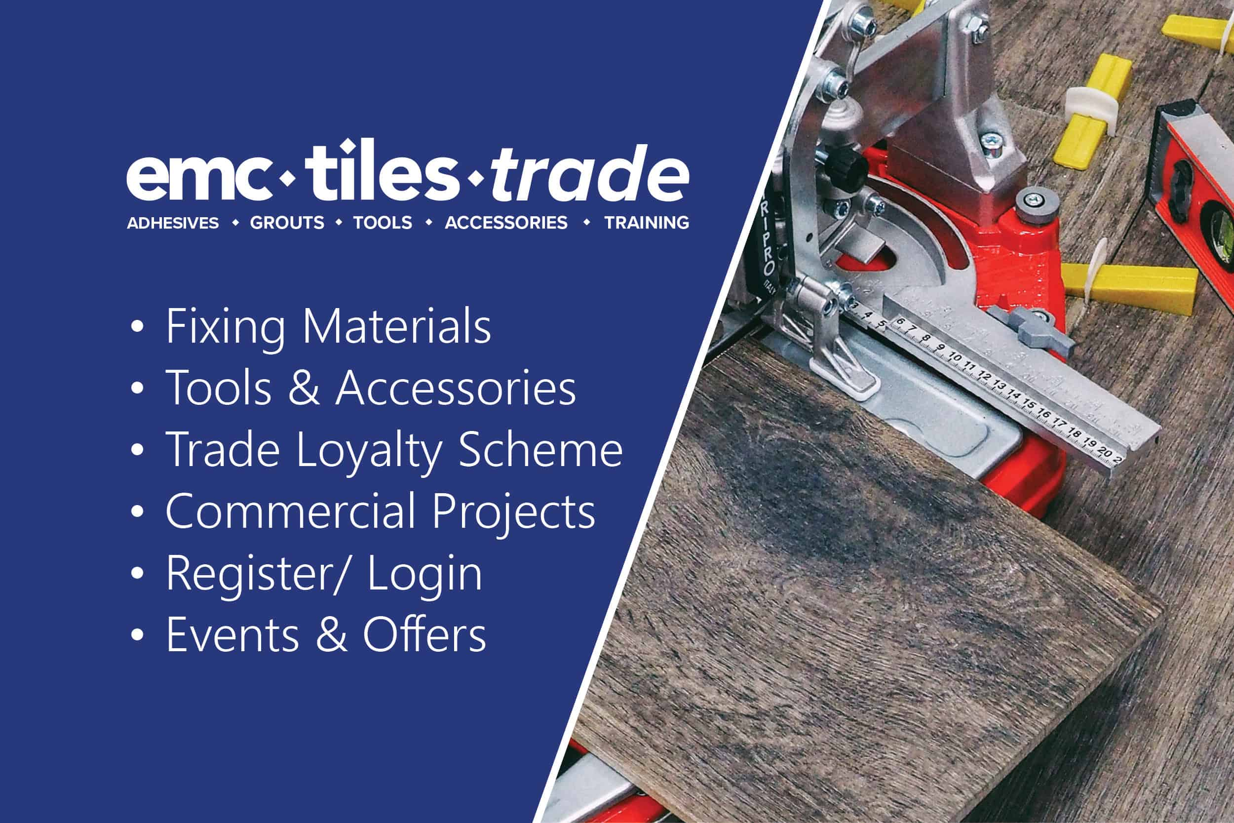 emc tiles trade adhesives, tiling tools, floor wall tiles, clearance, underfloor heating