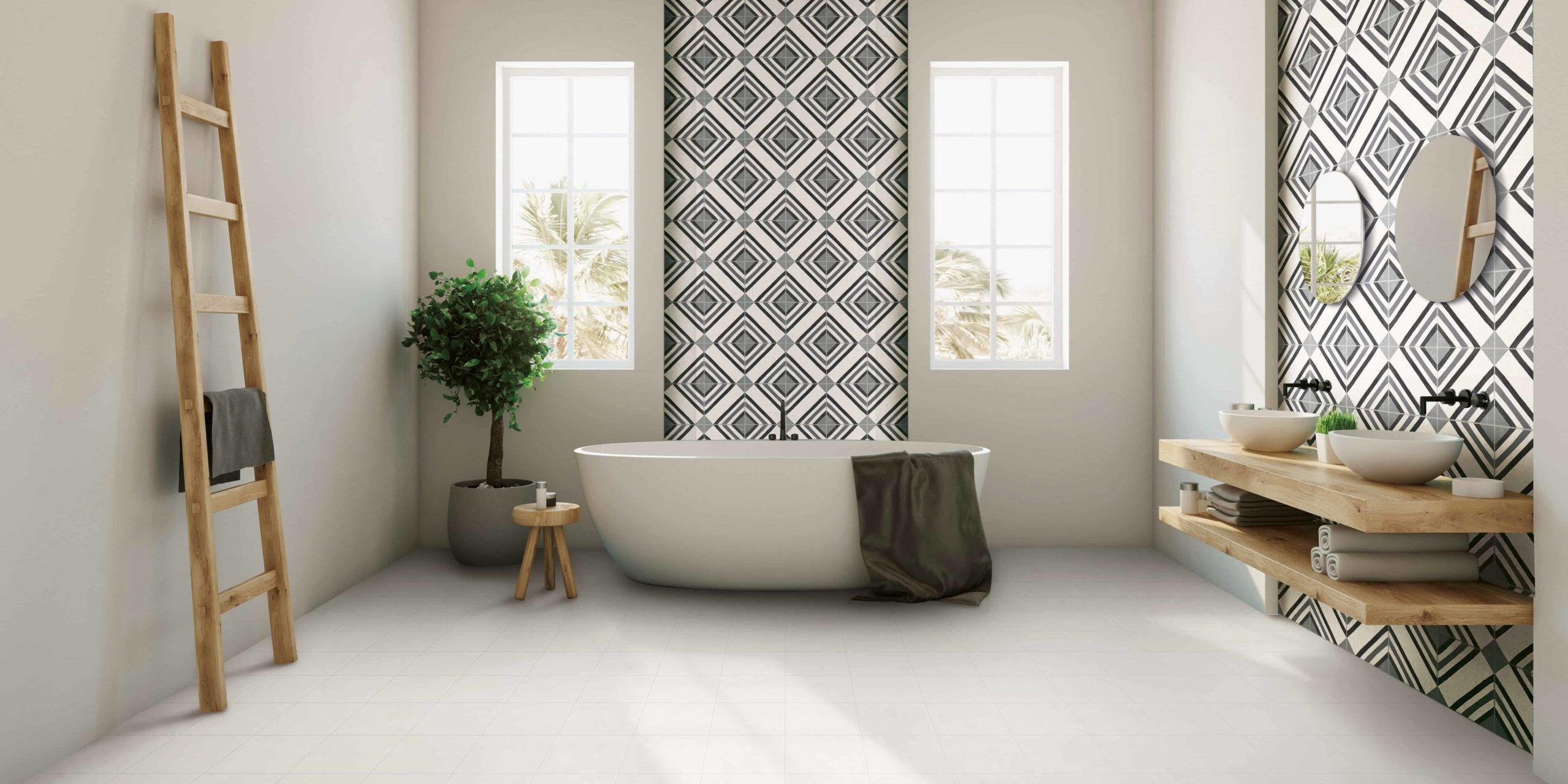 emc tiles patterned wall tiles scandinavian spa bathroom trend